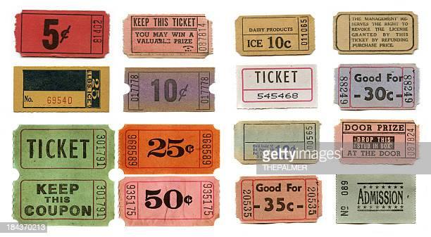 Satz von vintage-tickets