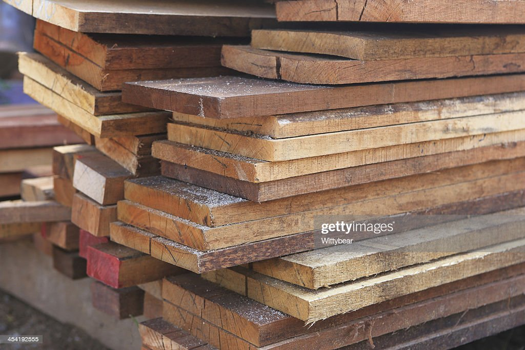 set of wood pine timber for construction building : Stock Photo