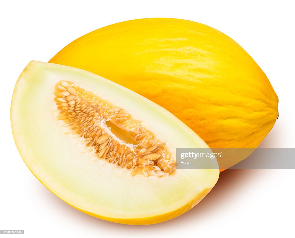 Set of yellow melon isolated on white background : Stock Photo