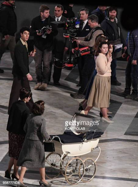 Set TV series a genial friend based on a novel by Elena Ferrante scenes shot in Umberto Prince gallery in downtown Naples Italian and American...