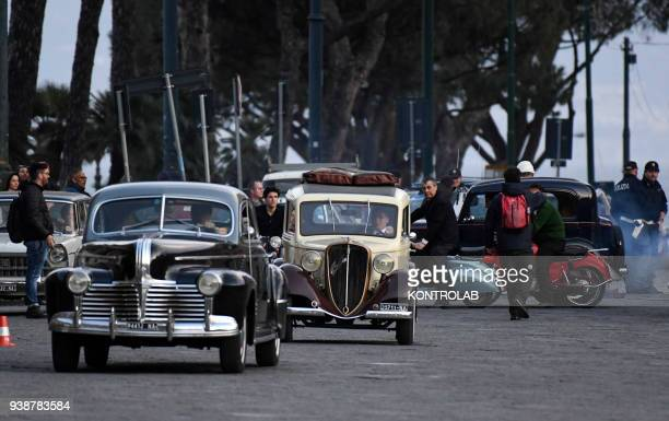 Set TV series a genial friend based on a novel by Elena Ferrante scenes shot in Plebiscito square in downtown Naples Italian and American production...