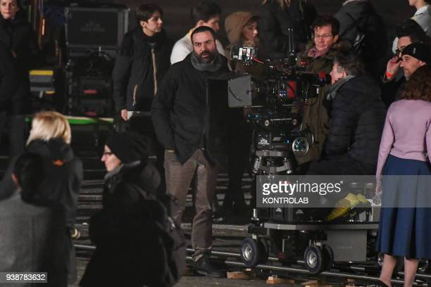 Set TV series a genial friend based on a novel by Elena Ferrante scenes shot in Plebiscito square Italian and American production with HBO Wild Side...