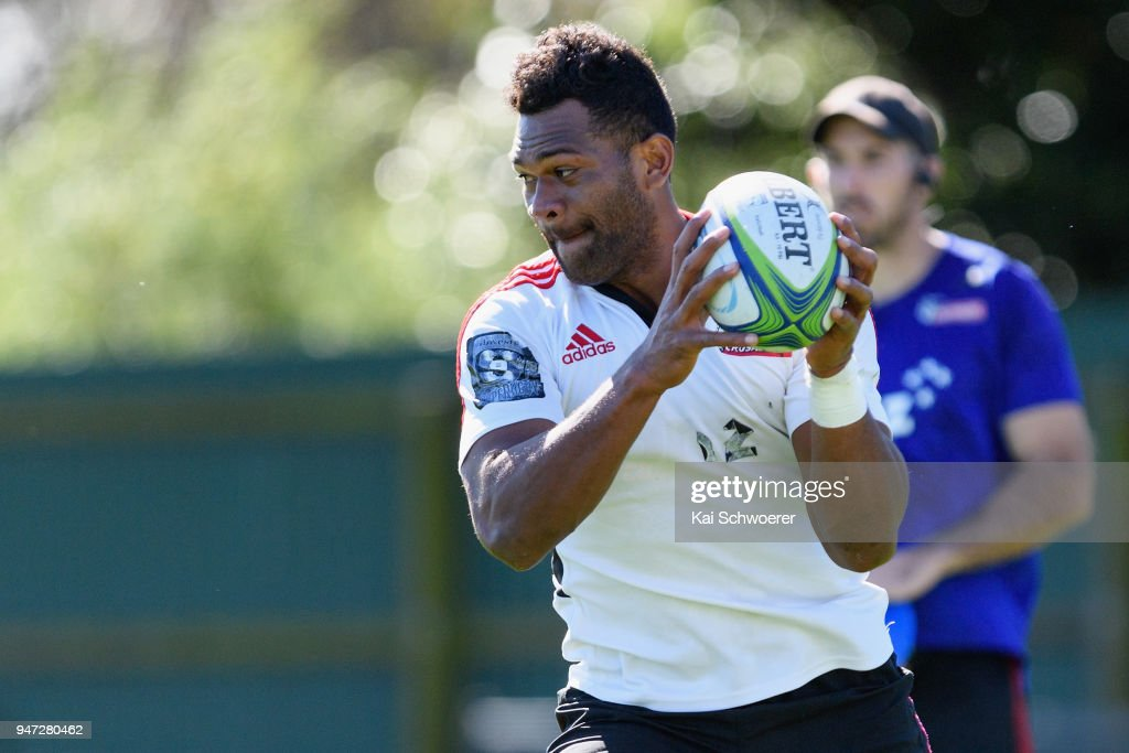 Seta Tamanivalu charges forward during a Crusaders Super Rugby training session at Rugby Park on April 17, 2018 in Christchurch, New Zealand.