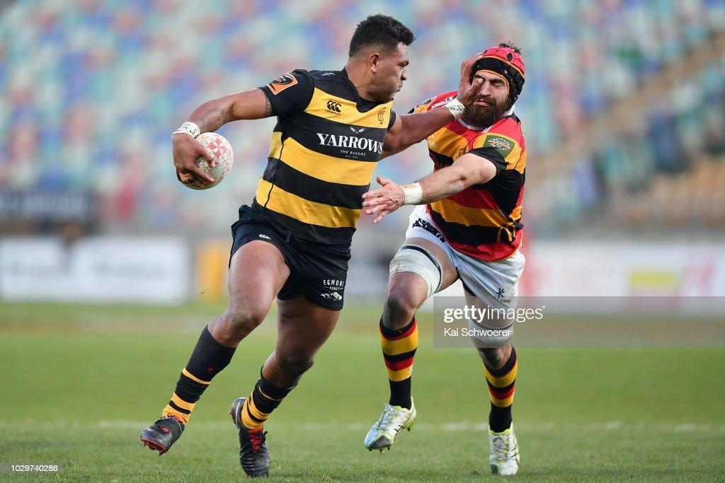 Seta Tamanivalu of Taranaki charges forward during the round four Mitre 10 Cup Ranfurly Shield match between Taranaki and Waikato at Yarrow Stadium on September 9, 2018 in New Plymouth, New Zealand.