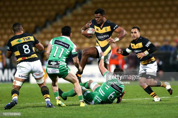 Seta Tamanivalu of Taranaki is tackled by Liam Mitchell of Manawatu during the round two Mitre 10 Cup Ranfurly Shield match between Taranaki and...