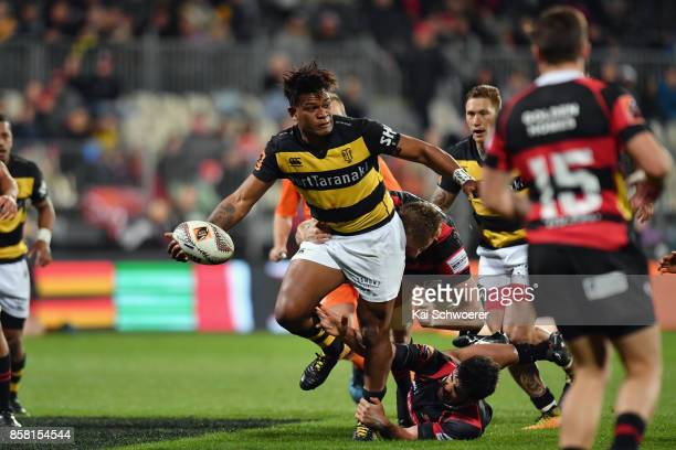 Seta Tamanivalu of Taranaki is tackled during the round eight Mitre 10 Cup match between Canterbury and Taranaki at AMI Stadium on October 6, 2017 in...