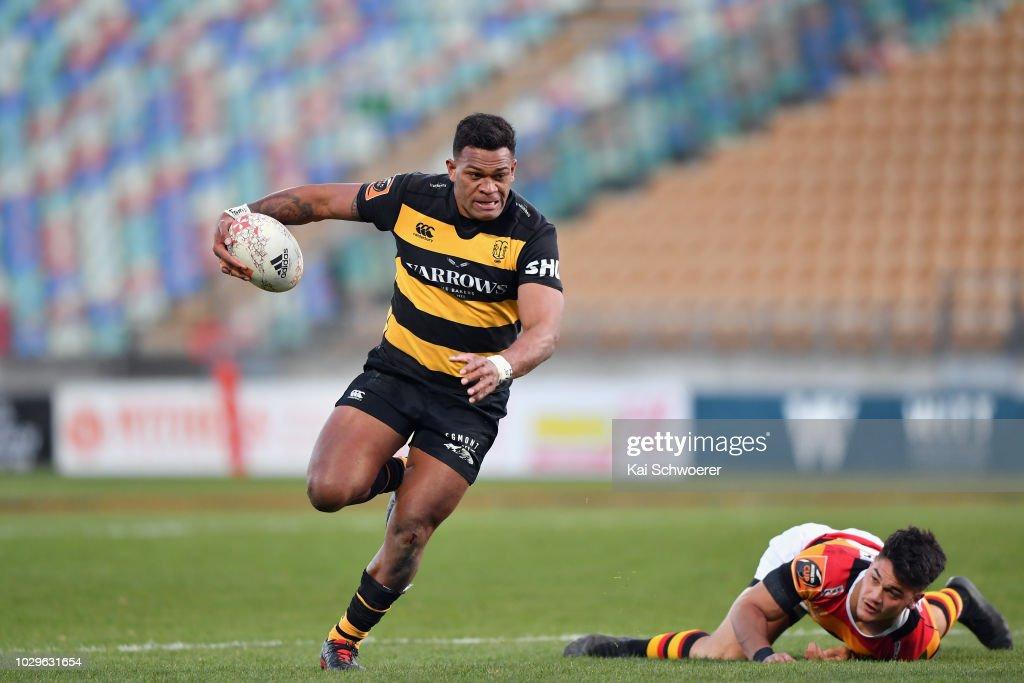 Seta Tamanivalu of Taranaki runs through to score a try during the round four Mitre 10 Cup Ranfurly Shield match between Taranaki and Waikato at Yarrow Stadium on September 9, 2018 in New Plymouth, New Zealand.