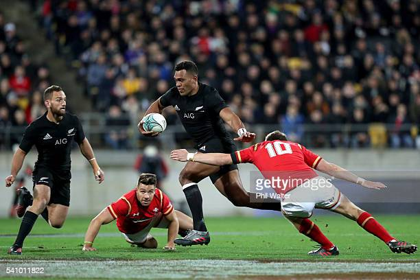 Seta Tamanivalu of the All Blacks is tackeld by Dan Biggar of Wales during the International Test match between the New Zealand All Blacks and Wales...