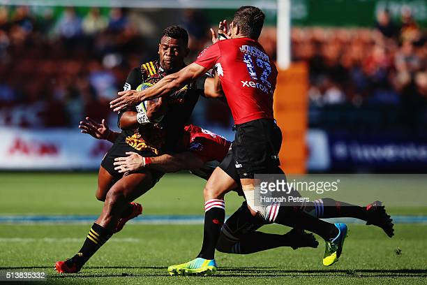 Seta Tamanivalu of the Chiefs charges forward during the round two Super Rugby match between the Chiefs and the Lions at FMG Stadium on March 5 2016...