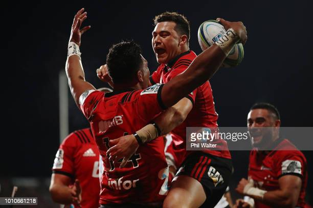 Seta Tamanivalu of the Crusaders celebrates after scoring a try with David Havili of the Crusaders during the Super Rugby Final match between the...