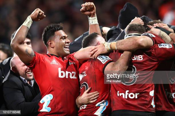 Seta Tamanivalu of the Crusaders celebrates on full time during the Super Rugby Final match between the Crusaders and the Lions at AMI Stadium on...