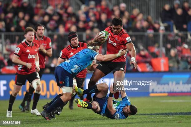 Seta Tamanivalu of the Crusaders charges forward during the round 19 Super Rugby match between the Crusaders and the Blues at AMI Stadium on July 14...