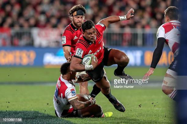 Seta Tamanivalu of the Crusaders is tackled during the Super Rugby Final match between the Crusaders and the Lions at AMI Stadium on August 4 2018 in...
