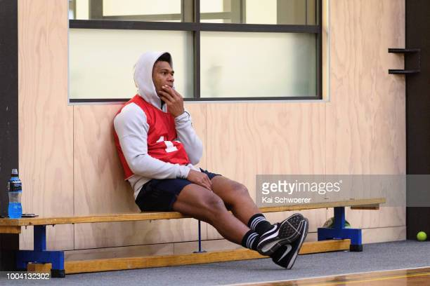 Seta Tamanivalu reacts during a Crusaders Super Rugby training session at St Andrew's College on July 23 2018 in Christchurch New Zealand