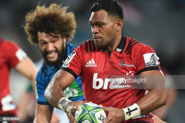 Seta Tamanivalu runs the ball during the round 14 Super Rugby match between the Blues and the Crusaders at Eden Park on May 19 2018 in Auckland New...