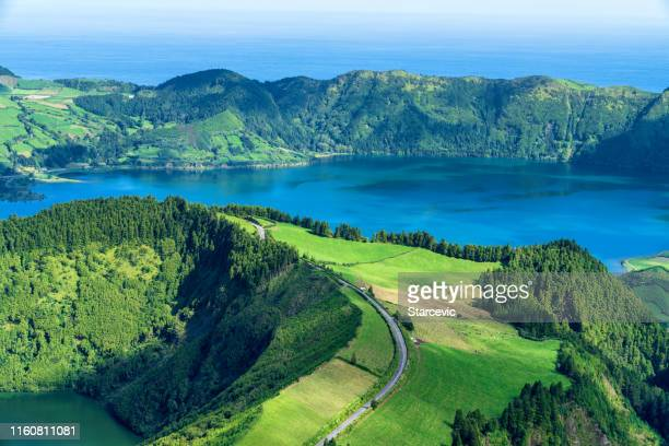 sete cidades lake in the azores - caldera stock pictures, royalty-free photos & images