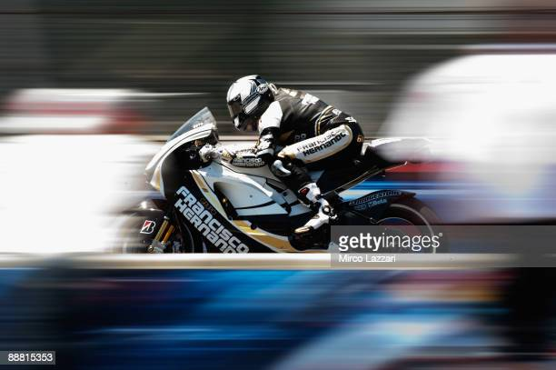 Sete Gibernau of Spain and Grupo Francisco Hernando heads down a straight during free practice for MotoGP World Championship US GP at Mazda Raceway...
