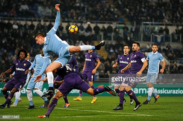 Setgej Milinkvic Savic of SS Lazio in action during the Serie A match between SS Lazio and ACF Fiorentina at Stadio Olimpico on December 18 2016 in...
