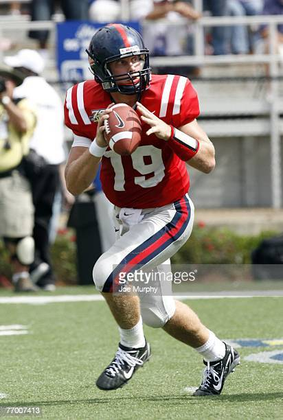 Seth Adams of the Mississippi Rebels looks to pass against the Florida Gators on September 22 2007 at VaughtHemingway Stadium/Hollingsworth Field in...