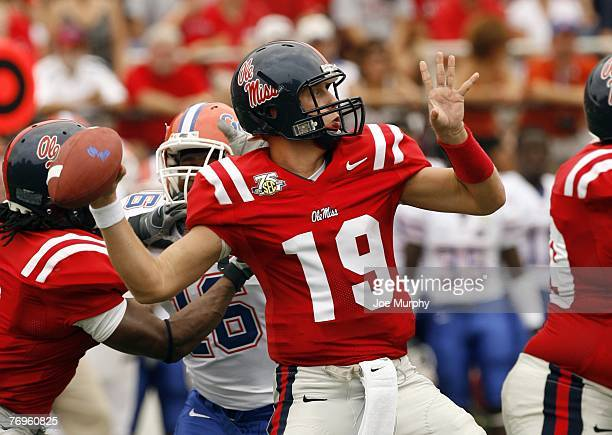 Seth Adams of the Mississippi Rebels throws downfield against the Florida Gators on September 22 2007 at VaughtHemingway Stadium/Hollingsworth Field...
