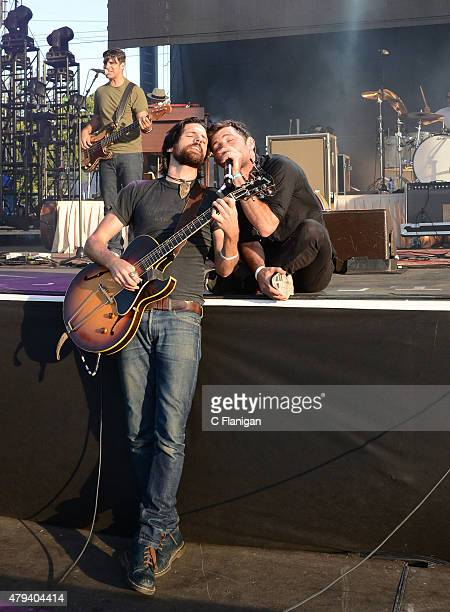 Seth Avett and Scott Avett of The Avett Brothers perform at Bottle Rock festival at Napa Valley Expo on May 30 2015 in Napa California