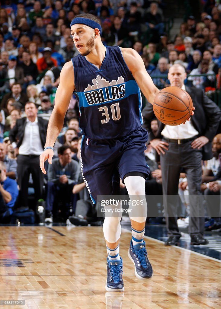 757992dbfd8b Seth Curry of the Dallas Mavericks handles the ball against the New ...
