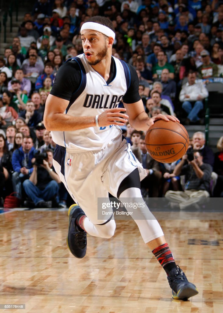 8654af134095 Seth Curry of the Dallas Mavericks handles the ball during a game ...