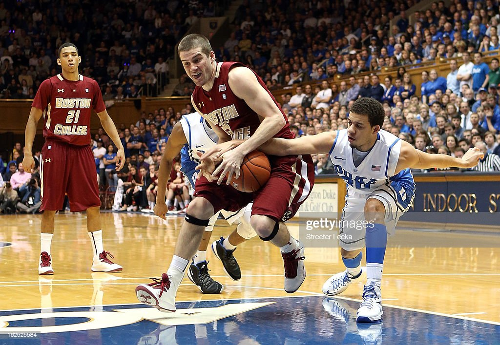Seth Curry #30 of the Duke Blue Devils tries to steal the ball from Joe Rahon #25 of the Boston College Eagles during their game at Cameron Indoor Stadium on February 24, 2013 in Durham, North Carolina.