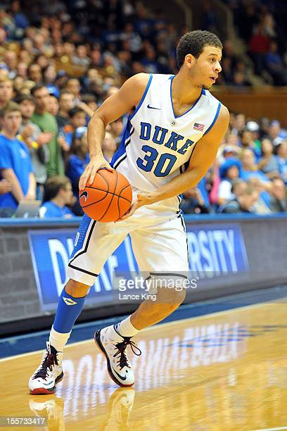 Seth Curry of the Duke Blue Devils works on offense against the WinstonSalem State Rams at Cameron Indoor Stadium on November 1 2012 in Durham North...