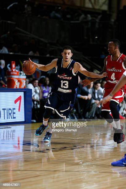 Seth Curry of the Futures dribbles against Dee Bost of the Prospects during the NBA DLeague AllStar Game at Sprint Arena as part of 2014 NBA AllStar...