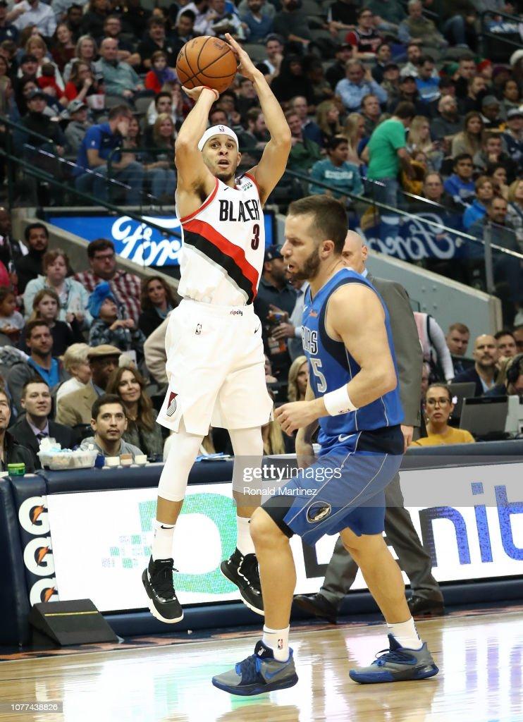 fde9b8e46 Seth Curry of the Portland Trail Blazers takes a three-point shot ...