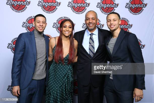 Seth Curry Sydel Curry Dell Curry and Stephen Curry pose for a portrait at the Legends Brunch during the 2019 NBA AllStar Weekend on February 17 2019...