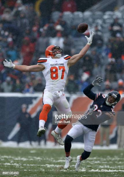 Seth DeValve of the Cleveland Browns attempts to complete the pass as Kyle Fuller of the Chicago Bears defends in the third quarter at Soldier Field...