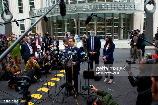 Seth DuCharme, acting US Attorney for the Eastern District of New York, speaks to the media outside Brooklyn federal court after Rainiere was...