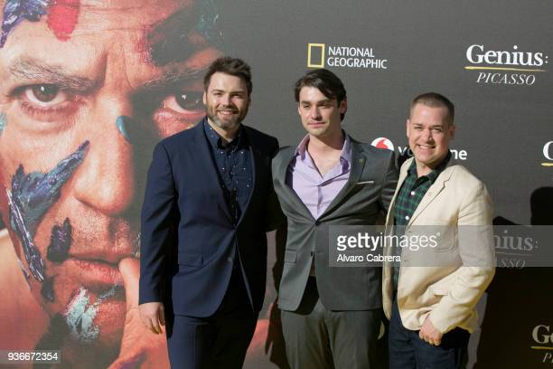 Seth Gabel Alex Rich and TR Knight attend 'Genius Picasso' premiere at Cervantes Theatre on March 22 2018 in Malaga Spain