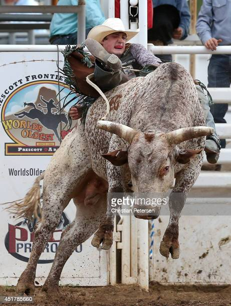 Seth Glause competes in the Bull Riding at the Prescott Frontier Days 'World's Oldest Rodeo' on July 5 2014 in Prescott Arizona