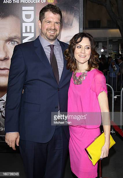 """Seth Gordon and guest arrive at the Los Angeles premiere of """"Identity Thief"""" held at Mann Village Theatre on February 4, 2013 in Westwood, California."""