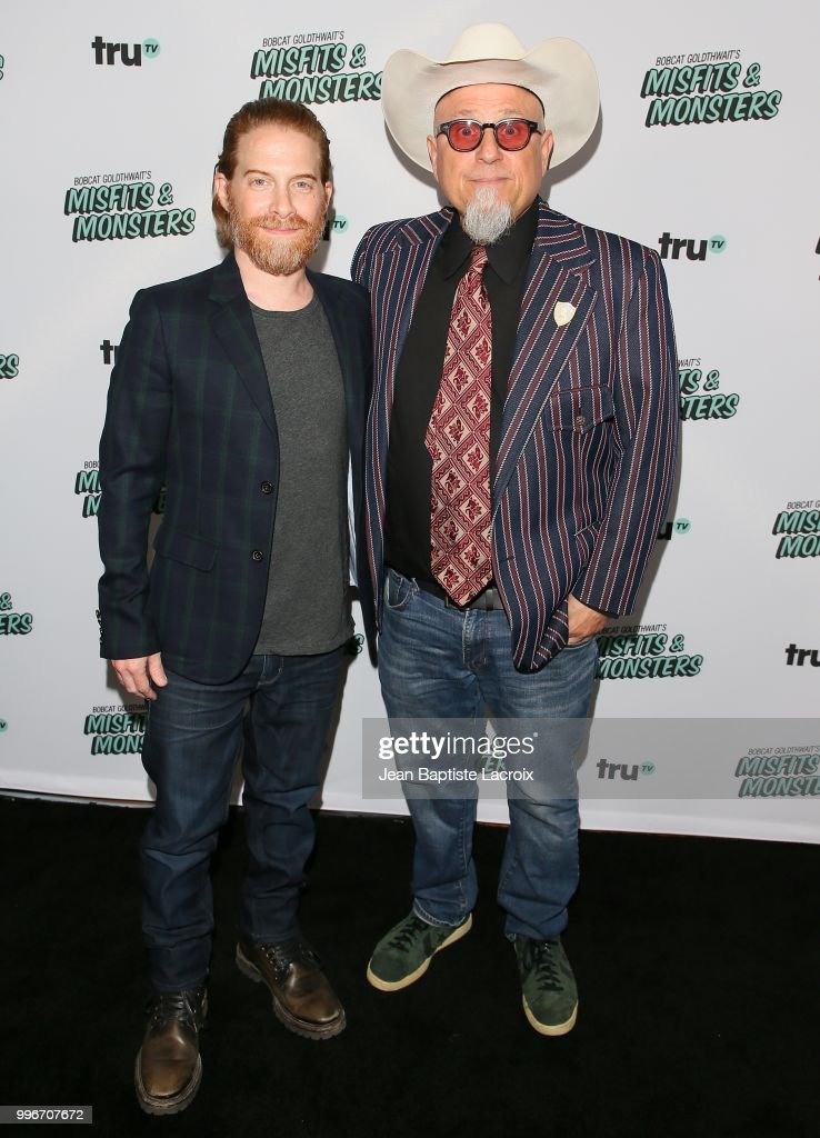 Seth Green and Bobcat Goldthwait attend the premiere of truTV's 'Bobcat Goldthwait's Misfits & Monsters' held at Hollywood Roosevelt Hotel on July 11, 2018 in Hollywood, California.