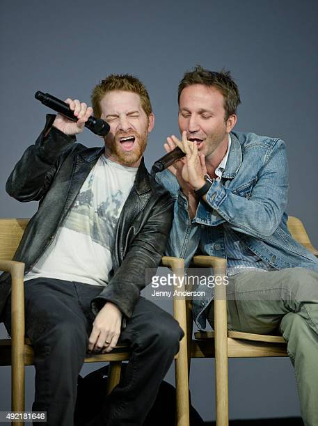 Seth Green and Breckin Meyer attend 'Meet the Creator' to discuss 'Robot Chicken' at Apple Store Soho on October 10 2015 in New York City