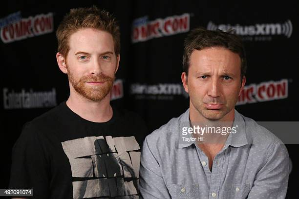 Seth Green and Breckin Meyer visit the SiriusXM Studios during New York ComicCon at The Jacob K Javits Convention Center on October 9 2015 in New...