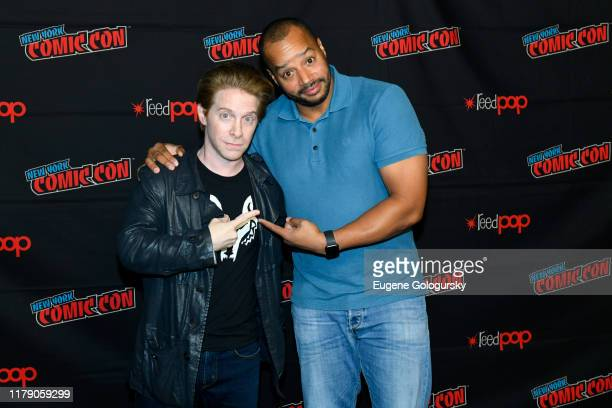 Seth Green and Donald Faison attend the New York Comic Con 2019 Day 2 at Hammerstein Ballroom on October 04 2019 in New York City