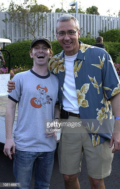 Seth Green and Dr Drew Pinsky during 2003 KROQ Weenie Roast at Verizon Amphitheater in Irvine California United States