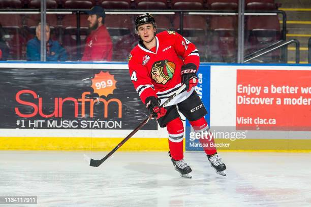 Seth Jarvis of the Portland Winterhawks warms up against the Kelowna Rockets at Prospera Place on March 3 2019 in Kelowna Canada