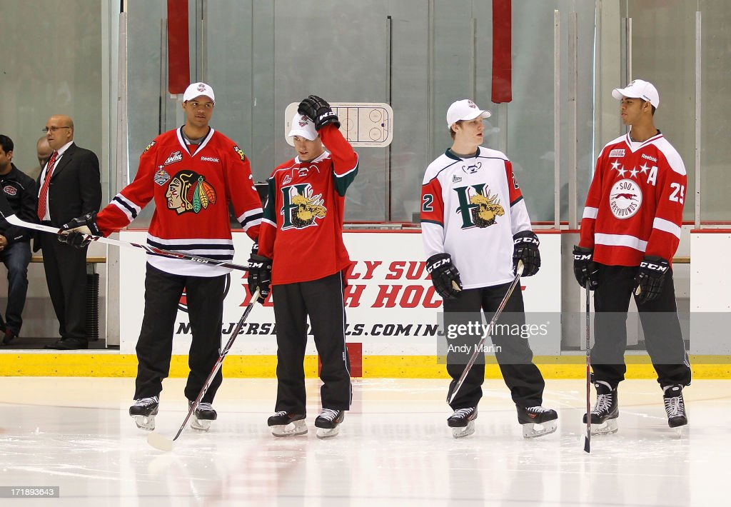 Seth Jones, Jonathan Drouin, Nathan MacKinnon and Darnell Nurse attend the 2013 NHL Draft - Top Prospects Clinic at Prudential Center on June 29, 2013 in Newark, New Jersey.
