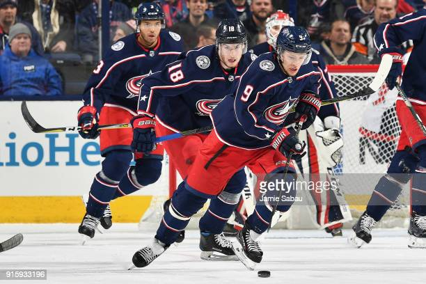Seth Jones of the Columbus Blue Jackets and PierreLuc Dubois of the Columbus Blue Jackets follow Artemi Panarin of the Columbus Blue Jackets up the...