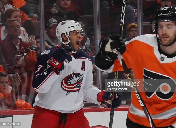 Seth Jones of the Columbus Blue Jackets celebrates his goal at 7:06 of the first period against the Philadelphia Flyers at the Wells Fargo Center on...
