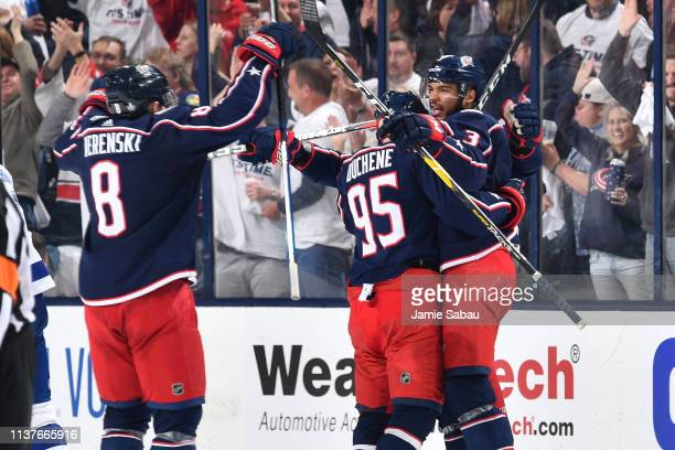 Seth Jones of the Columbus Blue Jackets celebrates his second period goal with teammates Zach Werenski and Matt Duchene of the Columbus Blue Jackets...