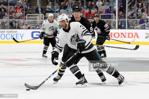 Seth Jones of the Columbus Blue Jackets controls the puck during the 2019 Honda NHL AllStar Game at SAP Center on January 26 2019 in San Jose...