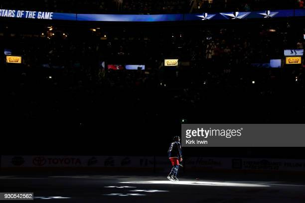 Seth Jones of the Columbus Blue Jackets is recognized as the first star of the game after scoring two goals and helping lead the Columbus Blue...