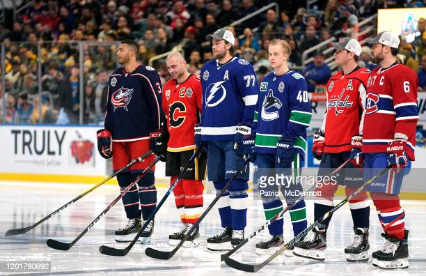 Seth Jones of the Columbus Blue Jackets Mark Giordano of the Calgary Flames Victor Hedman of the Tampa Bay Lightning Elias Pettersson of the...
